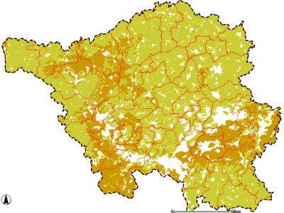 Karte der Luftkapazität der Böden