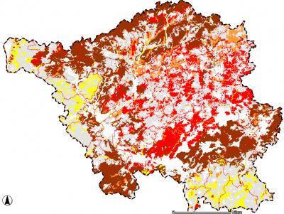 Karte der Pufferbereiche von Oberböden unter forstwirtschaftlicher Nutzung