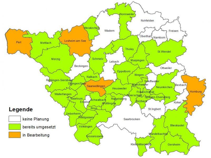 Bebauungspläne und Flächennutzungspläne der saarländischen Kommunen